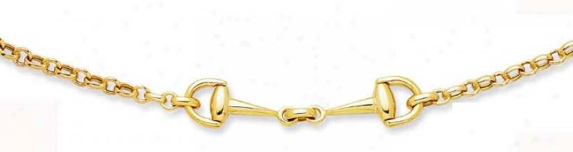 14k Yellow Snaffle Bit Design Necklace - 17 Inch