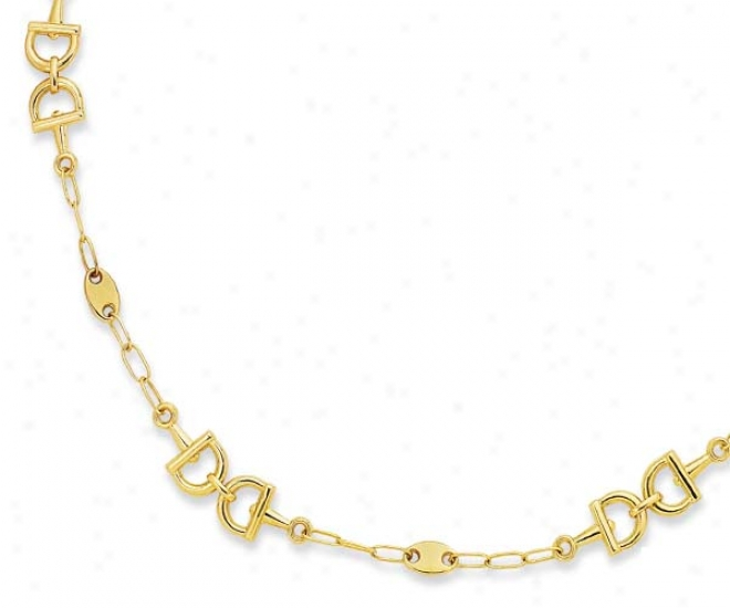 14k Yellow Snaffle Bit Design Necklace - 38 Inch
