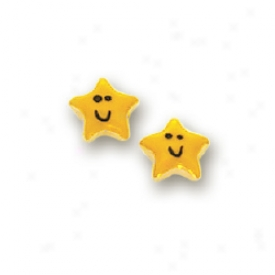 14k Yellow Star Childrens Stud Enamel Earrings