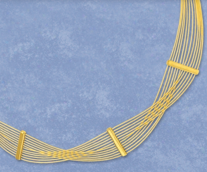 14k Yellow Stylish Crisscross Necklace - 17 Inch