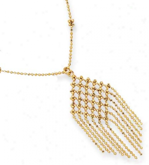 14k Yellow Stylish Drop Beads Design Necklace - 17 Inch