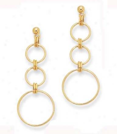 14k Yellow Stylish Open Circle Design Earrings