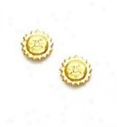 14k Yellow Sun Friction-back Post Earrings