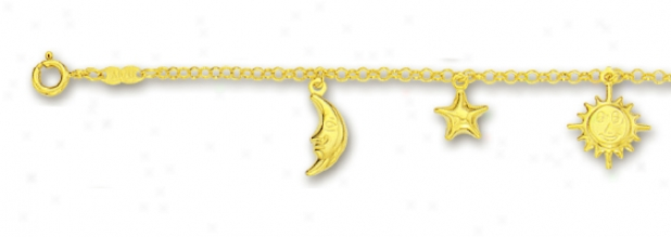 14k Yellow Sun Moon And Star Charm Bracelet - 7 Inch