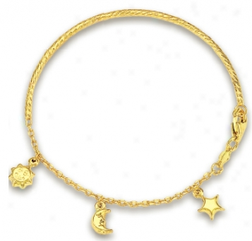 14k Yellow Sun Star And Moon Childrens Bracelet - 5.5