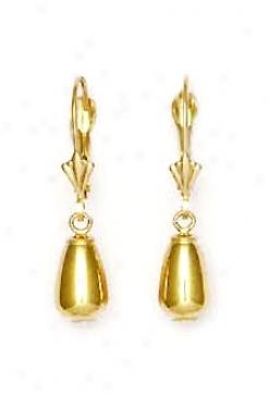 14k Yellow Tear Drop Lever-back Earrings