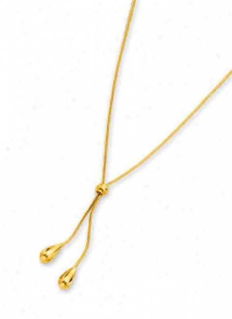 14k Yellow Tear Drop Snake Lariat Necklace - 17 Inch