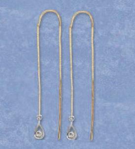 14k Yellow Tear Drop Threader Earrings