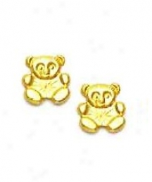 14k Yellow Teddy Bear Friction-back Post Earrings