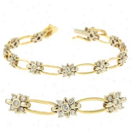 14k Yellow Tennis 1.67 Ct Diamond Bracelet