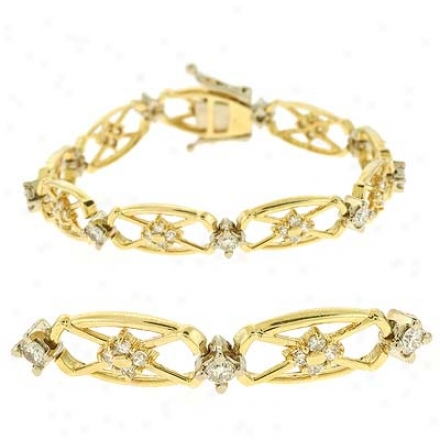 14k Yellow Tennis 2.26 Ct Diamond Bracelet