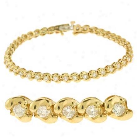 14k Yellow Tennis 2.27 Ct Diamond Bracelet