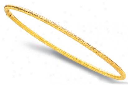 14k Yellow Textured Slip-on Bangle Bracelet - 8 Inch