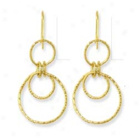 14k Yelloe Three Hoops Earrings