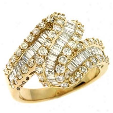 14k Yellow Trendy 2.01 Ct Diamond Ring