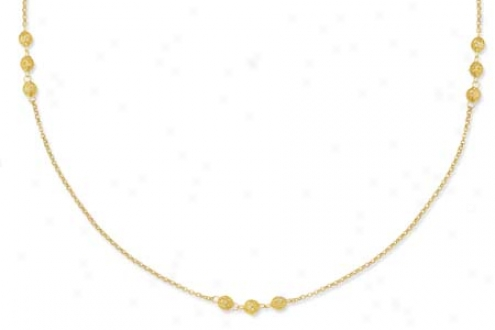 14k Yellow Triple Ball Long Link Necklace - 56 Inch