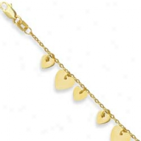 14k Yellow Triple Heart Leave Anklet - 10 Inch