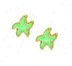 14k Yellow Turquoise Enamel Childrens Star Earrings