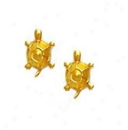 14k Yellow Tutle Friction-back Post Earrings