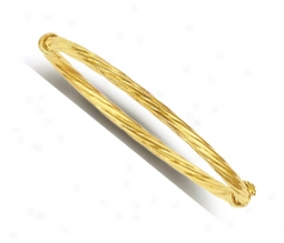 14k Yellow Twisted Bangle Childrens Bracelet - 5.5 Ibch