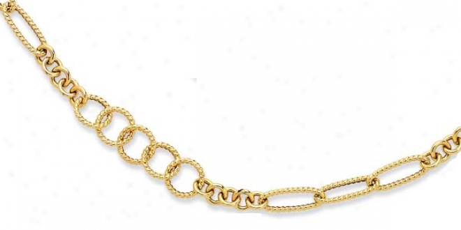 14k Yellow Twisted Crcles Station Link Necklace - 38 Inch
