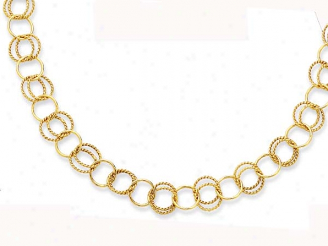 14k Yellow Twisted Design Circles Link Necklace - 38 Inch