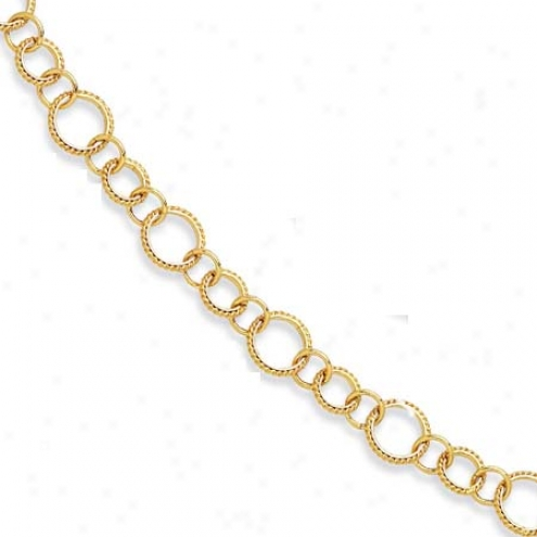 14k Yellow Twisted Design Fancy Circle Link Necklace - 18 In