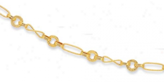 14k Yellow Twisted Design Fancy Link Necklace - 18 Inch