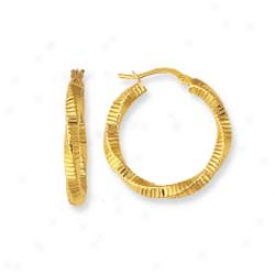 14k Yellow Twisted Hoop Earrings
