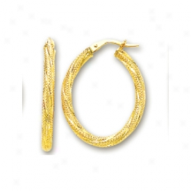 14k Yellow Twisted Large Oval Earrings
