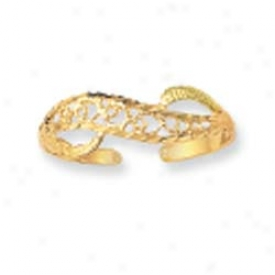 14k Yellow Wave Filigree Design Toe Ring