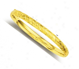 14k Yellow Weave Design Bangle Childrens Bracelet - 5.5 Inch