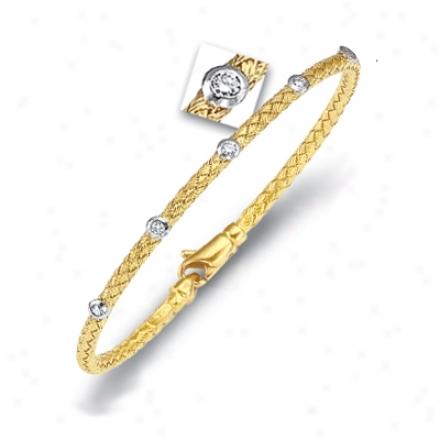 14k Yellow Weaved Bangle Diamond Bracelet - 7.25 Inch