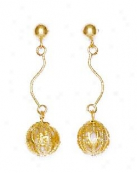 14k Yellow Wire Ball Drop Friction-back Post Earrings