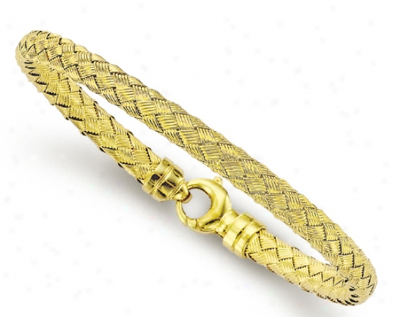 14k Yellow Woven Design Couture Bangle Bracelet - 7.25 Inch
