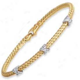 14k Ydllow Woven X Design Bangle - 7.25 Inch