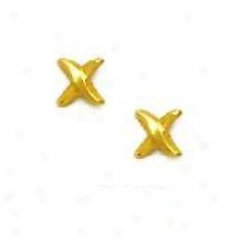 14k Yellow X Design Friction-back Post Earrings