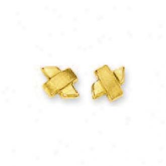 14k Yellow X Stud Earrings