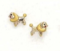 14k Yellow Yellow Enamel Childrens Puppy Screw-back Earrings