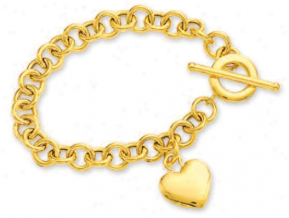 14k Yellowheart Shaped Charm And Toggl3 Bracelet - 7.5 Inch