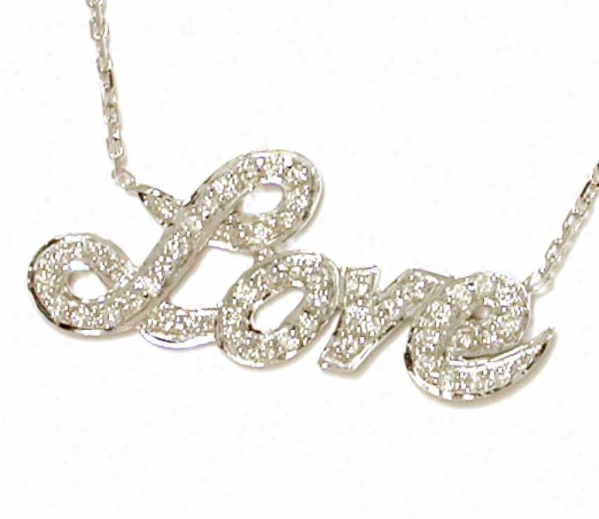 18k Pave-set Diamond Love Plate Necklace