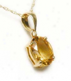 7x5 Mm Oval Citrine Solitaire Hanging appendage