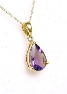 9x6 Mm Pear Amethyst Solitaire Pendant