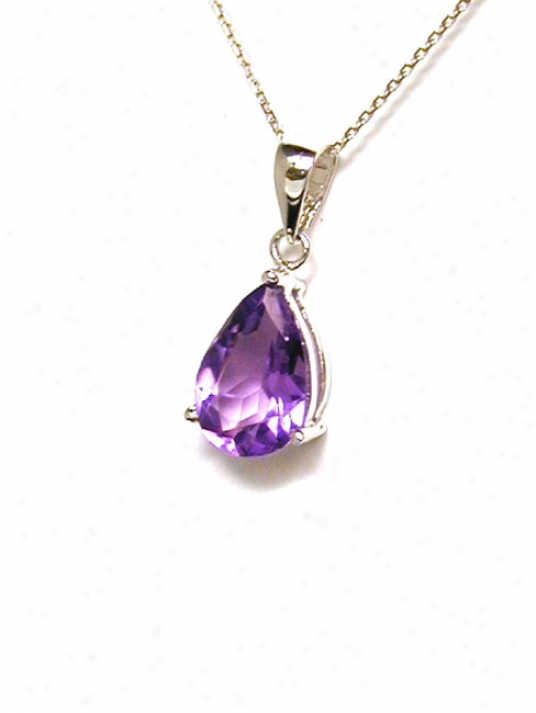 9x6 Mm Pear Shaped Amethyst Solitaire Pendant