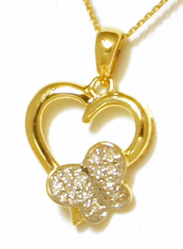 Adorable Diamond Butterfly Heart Pendant