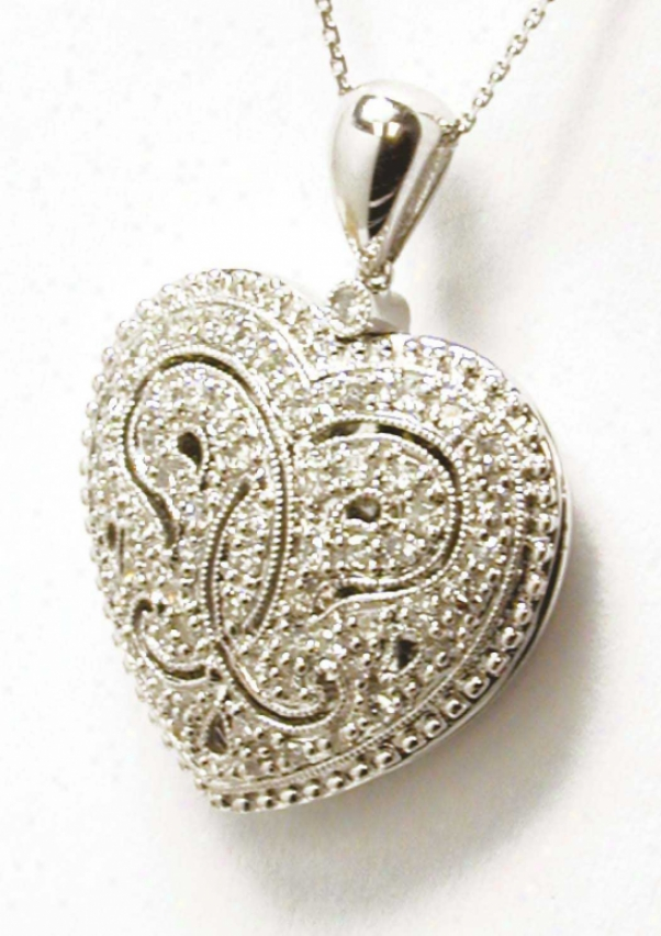 Antique Beaded Diamond Heart Licket Pendant