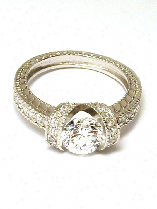 Antique Beaded Round Cubic Zirconia Cz Engagement Ring
