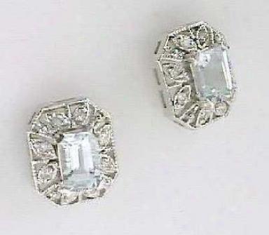 Antique-style Aquamarine & Diamond Earrings