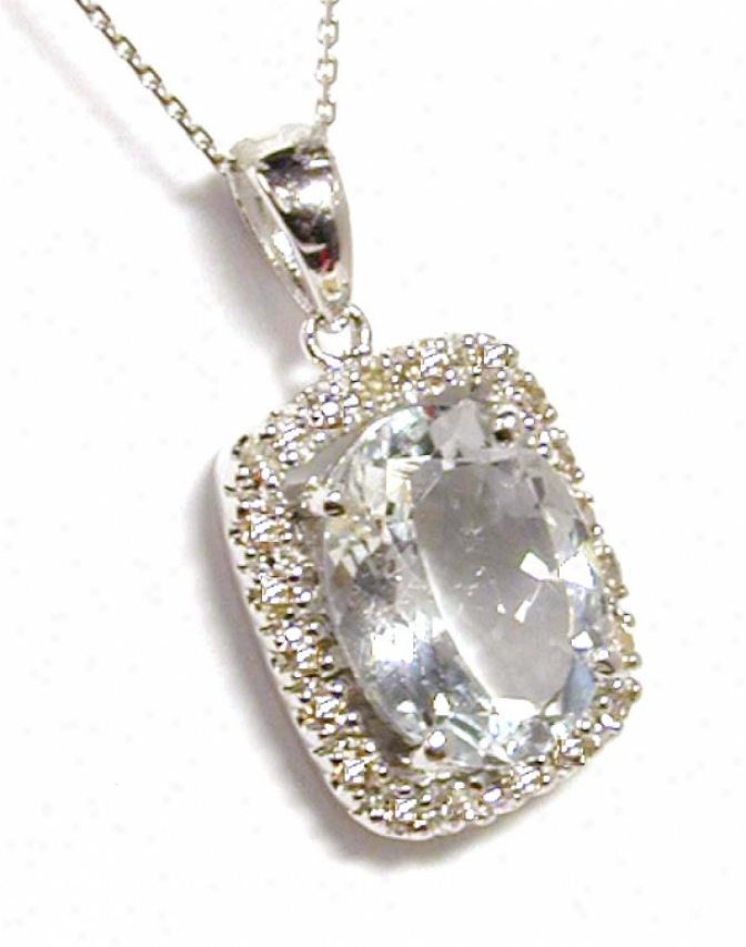 Aquamarine & Diamond Framed Pendant