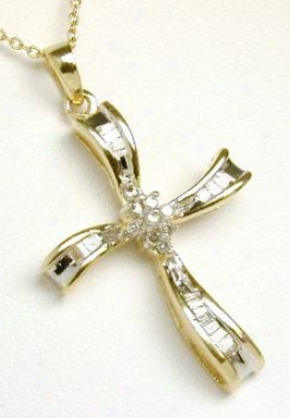 Baguette & Round Diamond Cross